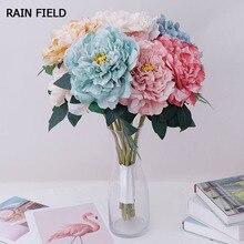 Peonies Artificial Flowers Silk Peonies Bouquet Flowers Wedding Home Decoration Fake Peony Rose Flower Cheap Flower Rain Field