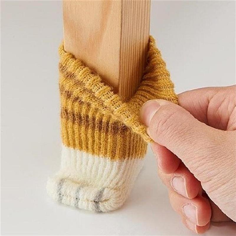 4Pcs Cute Cat Paw Table Foot Socks Chair Leg Covers Floor Protectors Non-Slip Knitting Socks For Furniture Wood Floor Protectors