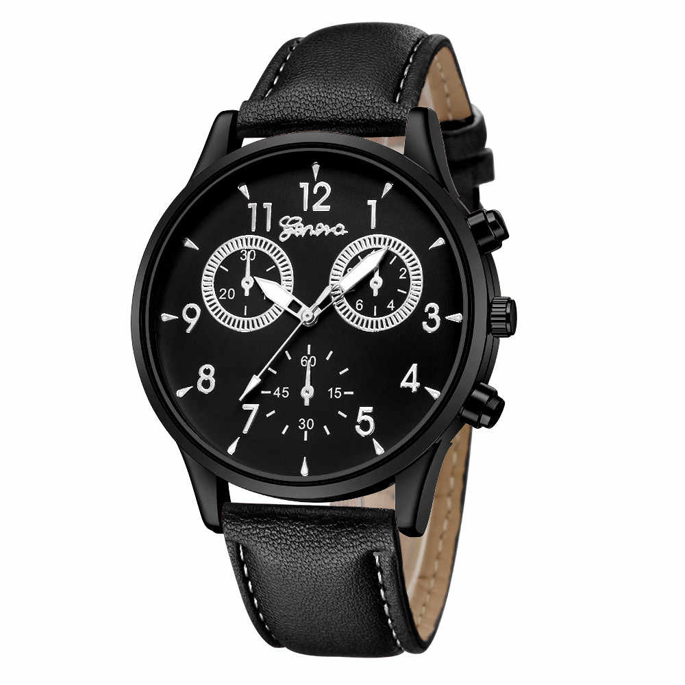 腕時計メンズファッション軍事ステンレス鋼アナログクォーツ革バンドレディー腕時計男性時計レロジオ Masculino O/N4