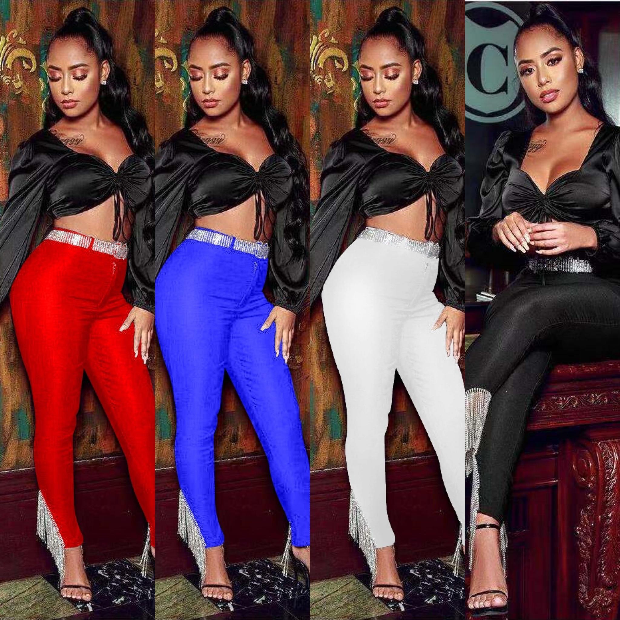 4 Colors Ladies HL Bandage Pants Sexy Diamond Tassel Bodycon Pencil Pants Celebrity Fashion Wear