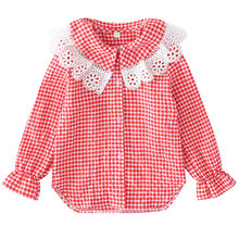 Korean Girls School Blouse Girls Blouse Designs Lace Collar Long Sleeve Kids Blouses And Shirts for Girls Plaid Tops for Girls layered flounce lace insert long sleeve blouse