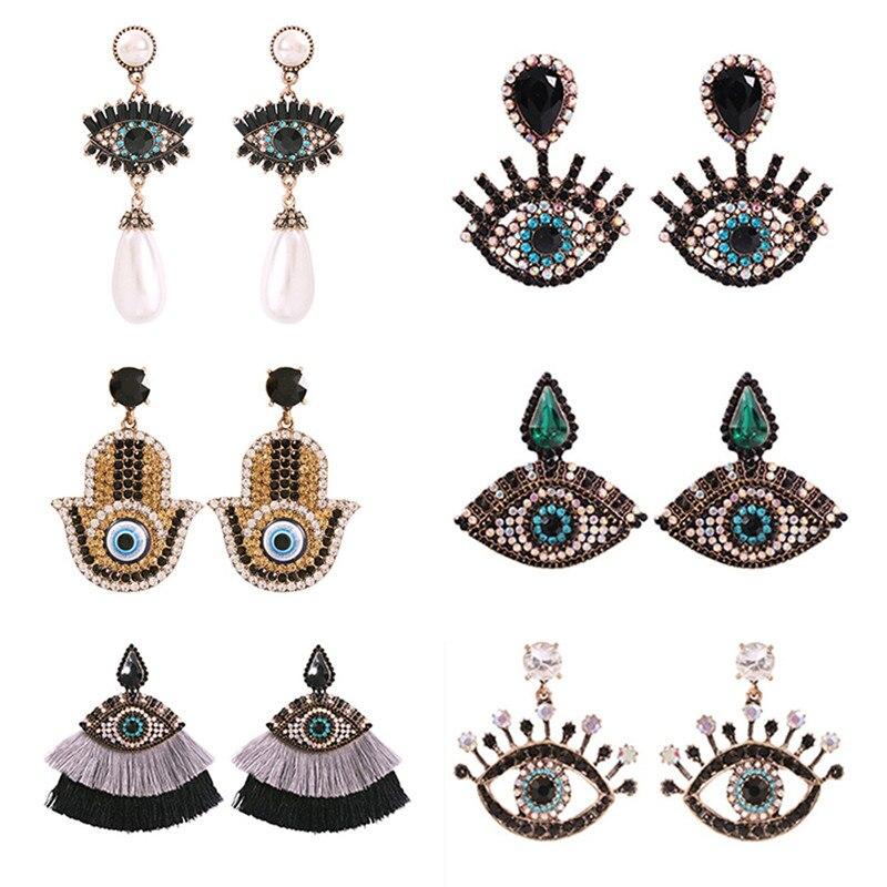 2019 Europe And America Exaggerated Vintage Rhinestone Crystal Eye Drop Earrings For Women Boho Jewelry Fashion Tassel Earings