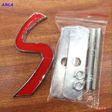 1pcs metal 3D S grill emblem car stickers Badge  car styling Auto Accessories for BMW MINI cooper S car Body decoration stickers