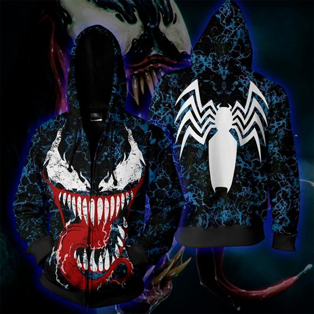 Superhero Movie Venom Sweatshirt Spiders Anime Cosplay Men Woman 3D Print Zipper Hoodie Streetwear Jacket Halloween Men Hoodies