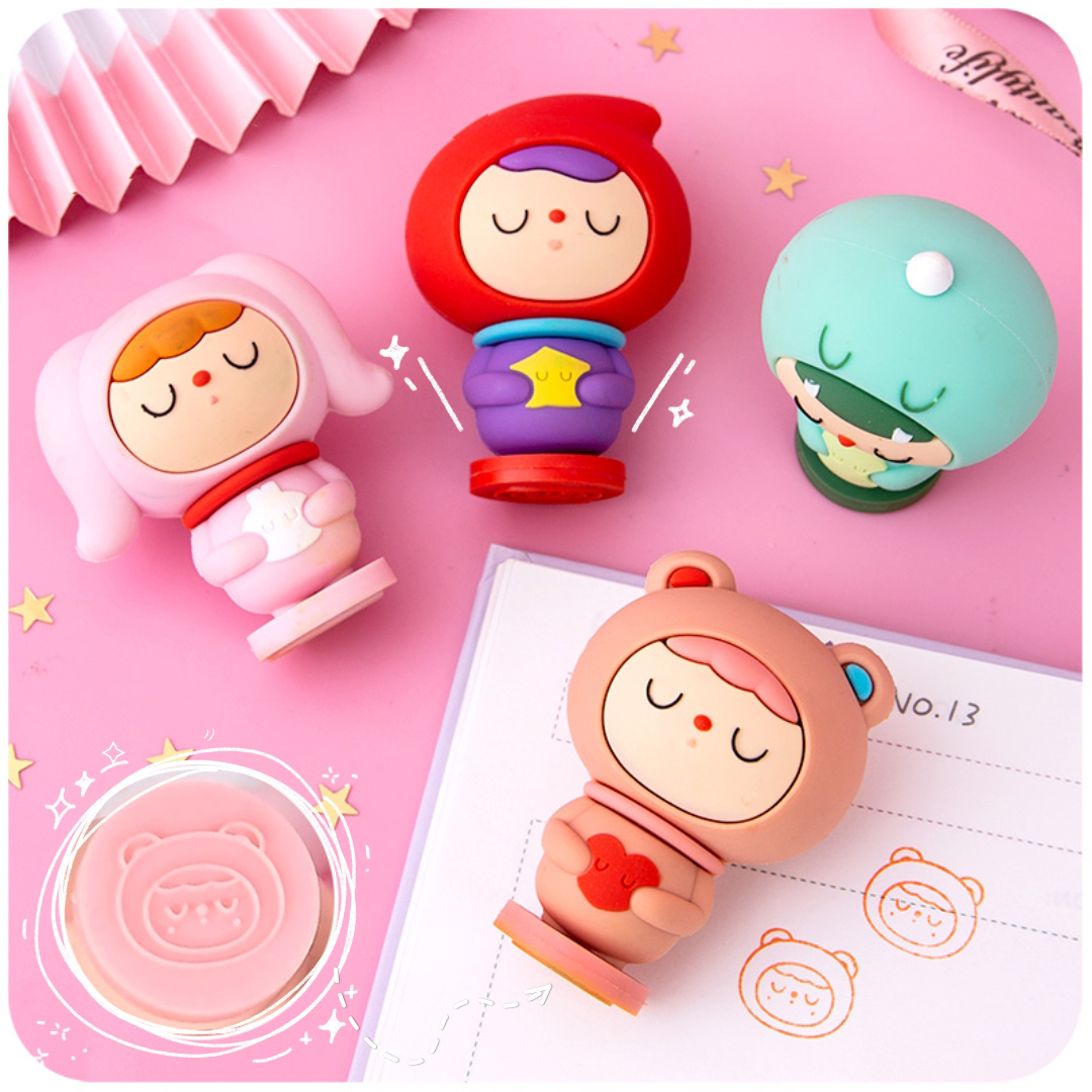 Kawaii Girl Heart Small Seal Cute Sleeping Baby Blind Box Net Red Stationery Fairy Fairy Stationery Mystery Box Round Seal