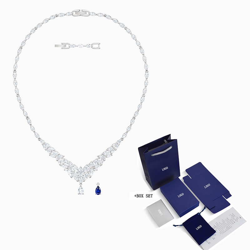Fashion SWA New LOUISON Necklace Winter Frosted Leaf Decoration Crystal Necklace Female Fashion Wild Practical Jewelry Gift