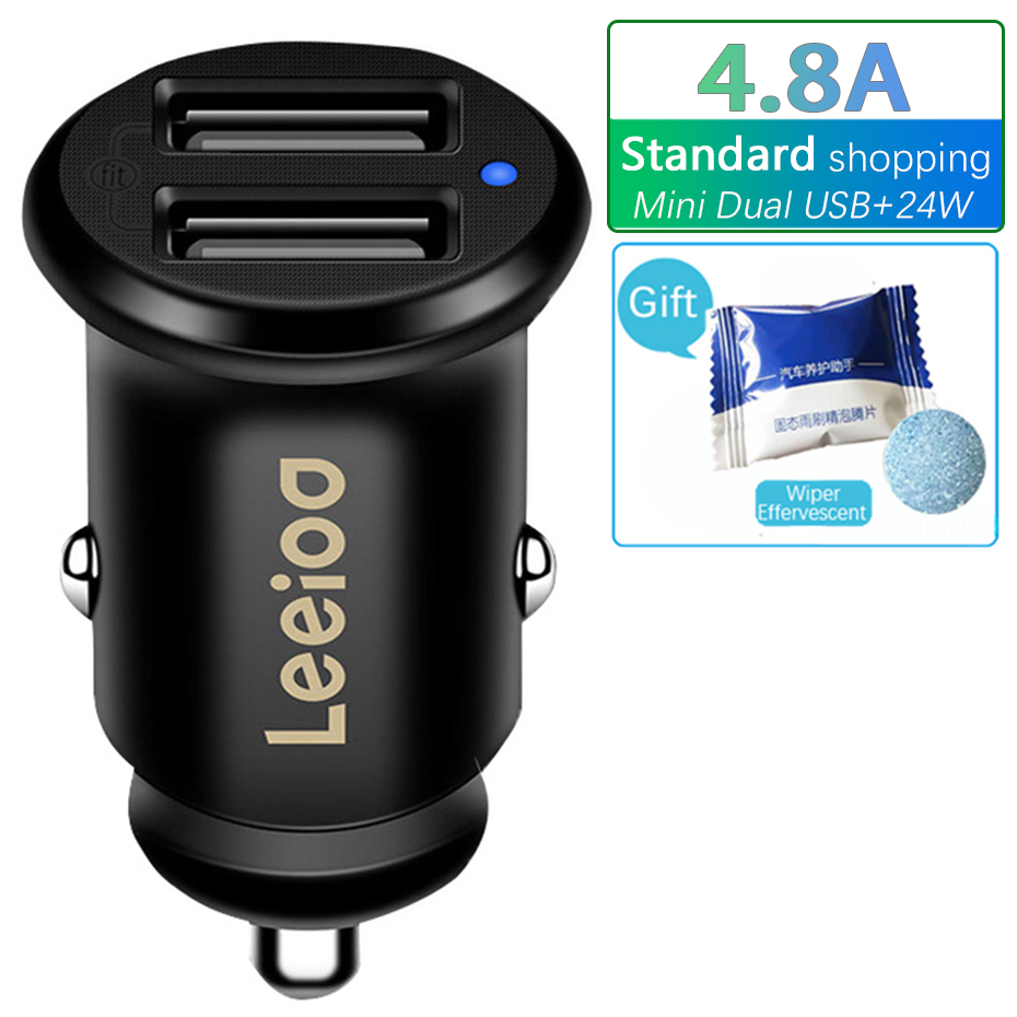 Leeioo Dual Usb Car Charger 4.8A Car Cigarette Lighter Universal USB Car Charger with Blue Led Light For iphone Sumsung Xiaomi|Cigarette Lighter|   - AliExpress
