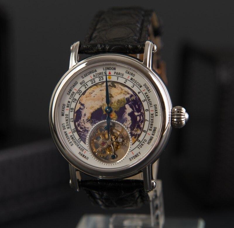 Top Brand Tourbillon Watch Men Luxury Real Tourbillon Earth Dial Alligator Leather Mechanical Movement Mens Clock Relogio Male