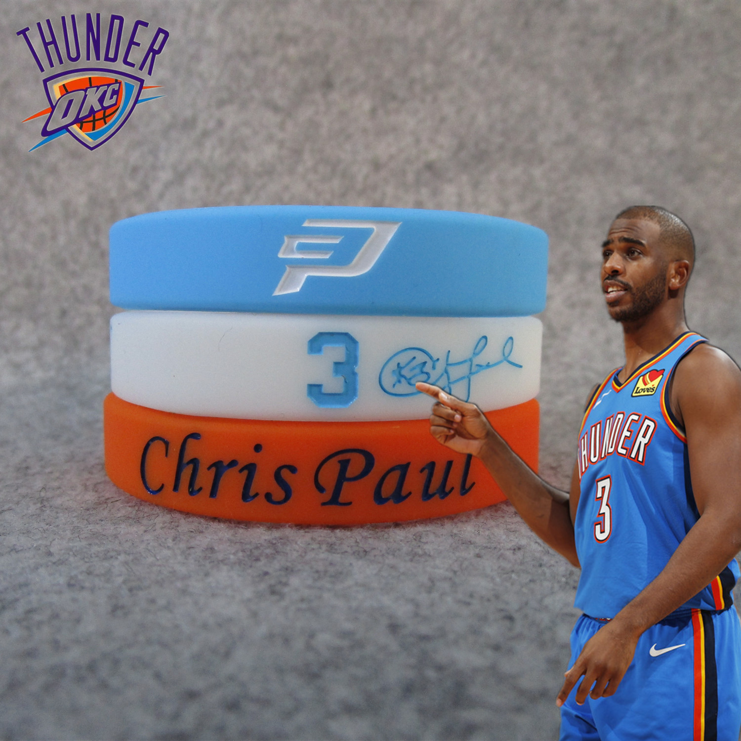 Thunder 3 Chris Polo Chris Paul Signature Sports Bracelet Silica Gel Night Light Wrist Strap Fans