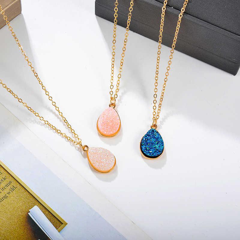 Batu Alam Air Drop Liontin Kalung Pesona Warna Emas Kristal Kalung untuk Wanita Kalung Fashion Perhiasan Aksesoris