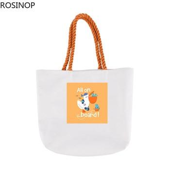Rosinop foldable shopping bag women cute canvas tote bag designer tote cartoon cute sea animal flower print utility tote Fashion canvas ethnic print tote bag
