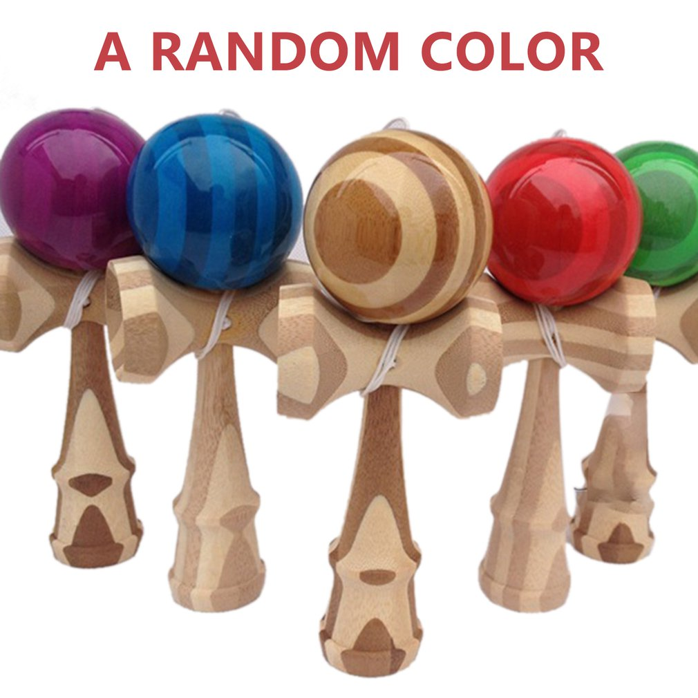 1 Piece Professional Bamboo PU Paint Wooden Kendama Balls Skillful Jumbo Kendama Outdoors Juggle Game Balls Toys For Gifts