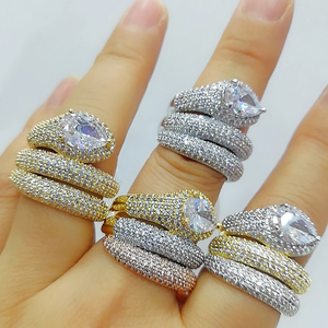 Image 3 - GODKI Luxury 3 Layers Twist Snakel Rings with Zirconia Stones 2020 Women Engagement Party Jewelry High Quality