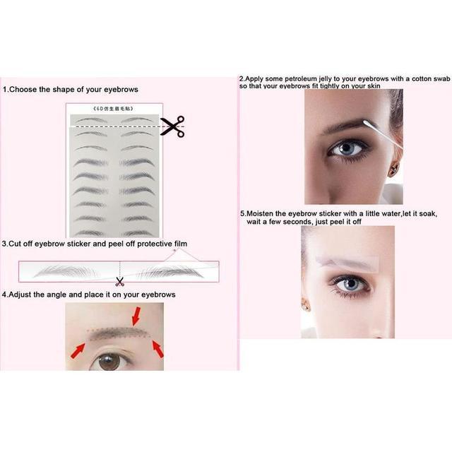 Fashion 4D Hair-like Eyebrow Tattoo Sticker 4D Hair-like Authentic Eyebrows Waterproof Long Lasting for Women Lady 3