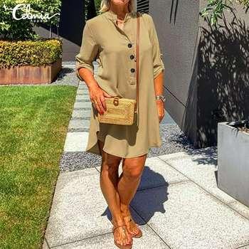 Damska koszula sukienka Celmia 2020 moda z długim rękawem swobodna luźna sukienka guziki Vintage bawełniane lniane topy asymetryczna strona Vestidos