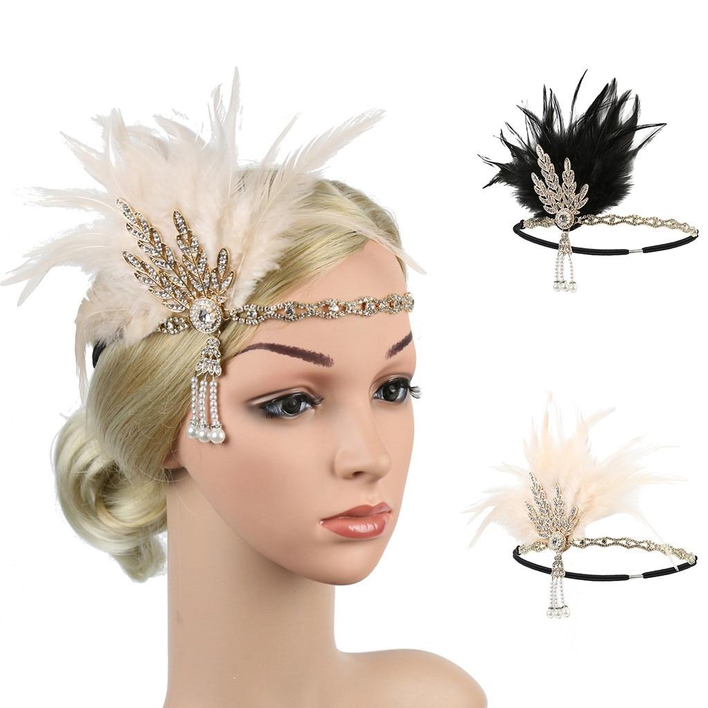 Женский ободок с перьями, блестящий винтажный ободок Gatsby, аксессуар для волос на выпускной