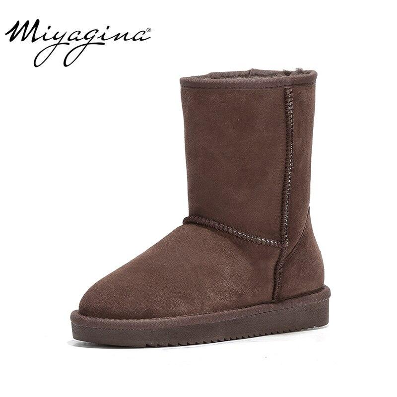 MIYAGINA nowy przyjazd 100% prawdziwe futro klasyczne Mujer Botas wodoodporna prawdziwa skóra bydlęca buty śniegu zimowe buty dla kobiet w Buty do połowy łydki od Buty na  Grupa 1