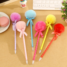 1pcs/lot  New style Bow Plush Ball Point Pen Stationery Ribbon office and school supplier retail