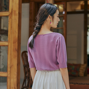 Image 2 - INMAN 2025 Spring New Arrival Literary Dimple Series V neck Nipped Waist Show Slimmed Short Sleeve Base Knitwear