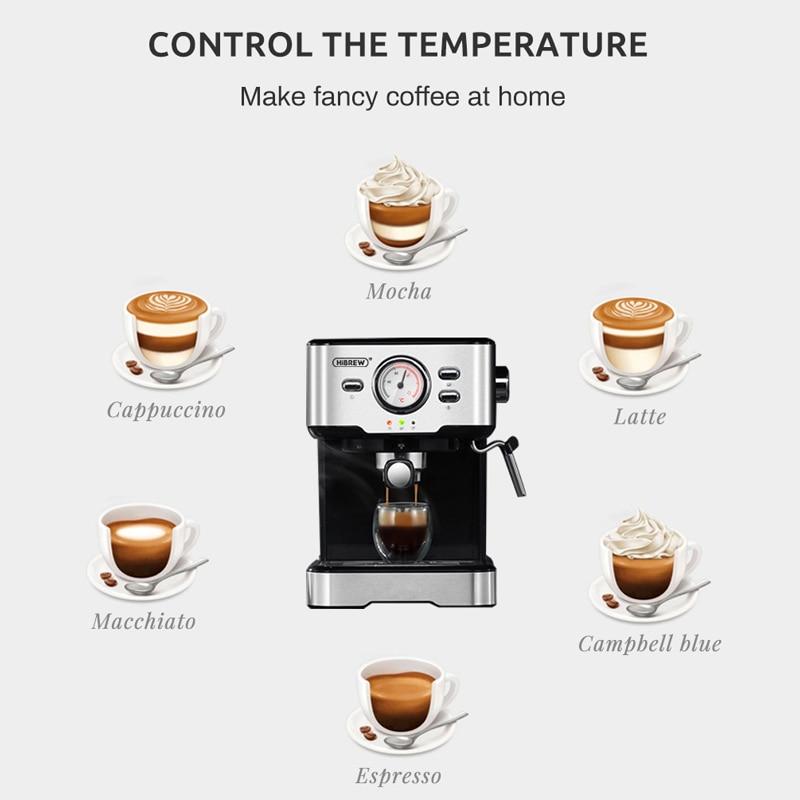 HiBREW 20 Bar Espresso Coffee Machine inox Semi Automatic Expresso Cappuccino Maker Steam Wand Hot Water Temperature Meter H5 6