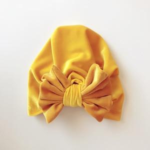 Image 4 - Childrens Gold Velvet Indian Hat Bowknot Muslim Beanie Cap Elastic Soft Girls Turban Kids Head Wrap Fashion Headwear
