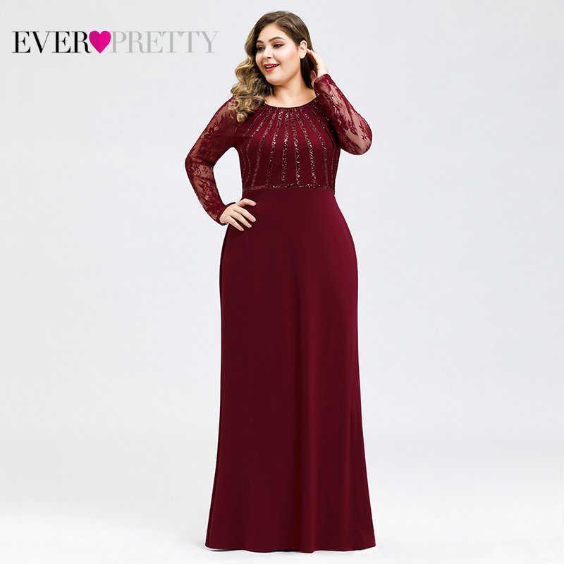 Vestidos de Noche largos 2019 siempre bonitos EZ07771 elegante sirena encaje manga completa vestidos de cuello redondo talla grande Madre de la novia