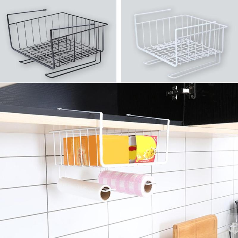 Cupboard Hanging Under Shelf Storage Iron Mesh Basket Cabinet Door Organizer Rack Closet Holders Storage Basket Rack Organizer