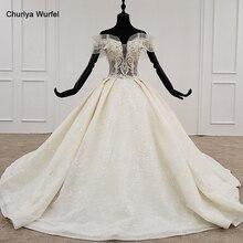 HTL1172 princesa corte vestidos de novia hombros descubiertos cuentas de cristal perla encaje de talla grande vestido de novia Bohemia