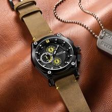 цена на MEGIR Blue Quartz Men Watches Top Brand Leather Strap Chronograph Sport Wrist Watch Men Clock Relogio Masculino Reloj Hombre