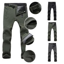 Winter Men Fleece Waterproof Outdoor Pants Quick Dry Soft Shell Trousers Snow Trekking Hiking Pants For Camp Fishing Travel Ski