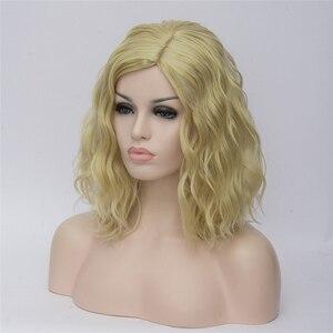 Image 4 - VICWIG perruques Cosplay synthétiques bouclées pour femmes, cheveux courts, bleus, violets, roses, verts, dorés, jaunes, en Fiber résistante à la chaleur