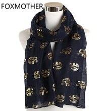 FOXMOTHER Mới Viền Vàng Bạc Tai Voi In Hình Động Vật Khăn Hijab Hồi Giáo Khăn Choàng Len Vòng Vòng Khăn Choàng Cổ Nữ