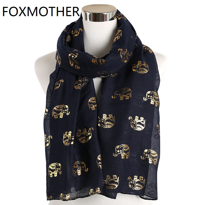 FOXMOTHER New Lightweight Navy White Color Foil Gold Sliver Elephant Animal Print Scarf Hijab Muslim Shawl Wraps Ring Loop Scarves Women Ladies