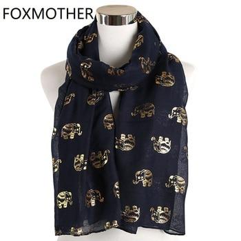 FOXMOTHER-bufanda de papel de aluminio dorado plateado con estampado de elefante y Animal, mantón musulmán, anillo de envolturas, lazo, para mujer