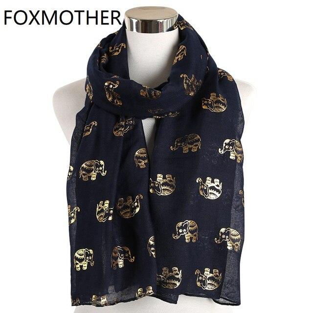 Foxmother Nieuwe Folie Gold Sliver Olifant Animal Print Sjaal Hijab Moslim Sjaal Wraps Ring Loop Sjaals Vrouwen