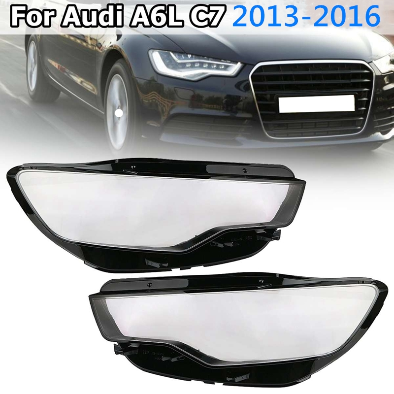1Pair Front Left&Right Car Headlight Head Light Lamp Lens Light Cover For <font><b>Audi</b></font> <font><b>A6</b></font> C7 2013 <font><b>2014</b></font> 2015 2016 image