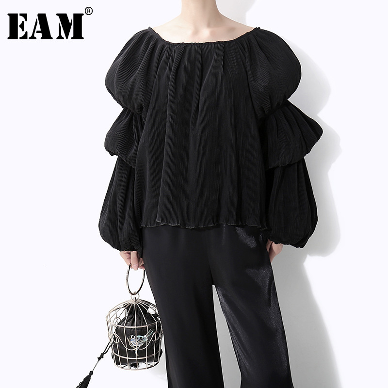 [EAM] Women Black Pleated Temperament Big Size T-shirt New Round Neck Long Sleeve  Fashion Tide  Spring Autumn 2019 1D666