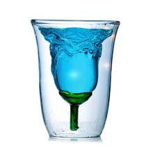 Twórczy w kształcie róży podwójne szkło lampka do czerwonego wina dla kochanka koktajl szklany duch szkła kochanka prezent tanie tanio CN (pochodzenie) ROUND CE UE Lfgb Pojemnik na koktajl Ekologiczne Na stanie