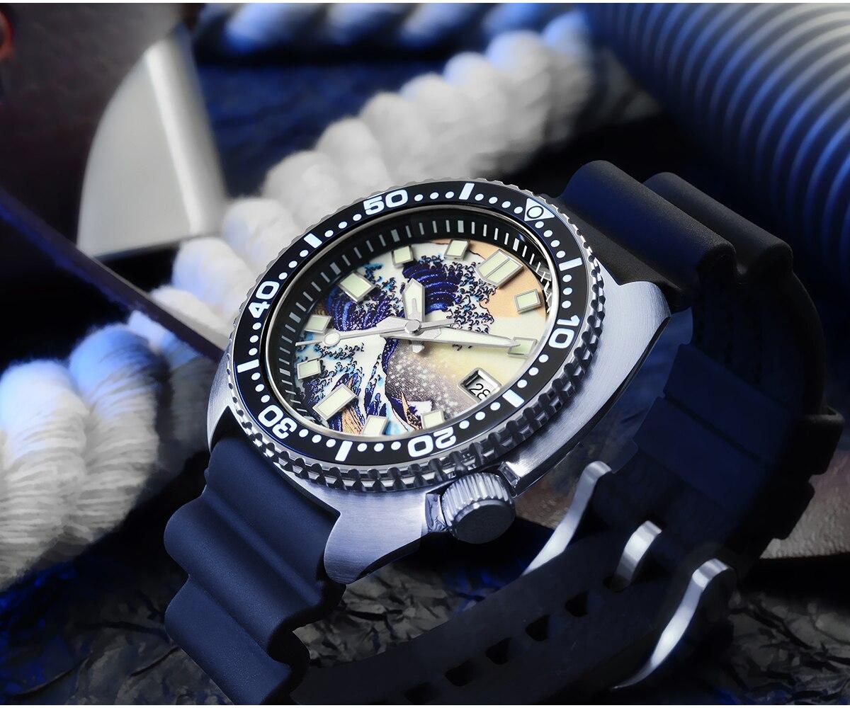barra de aço inoxidável relógio mecânico borracha