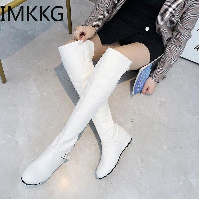 Talla grande 43 botas sobre la rodilla aumento de cuñas de tacón dulce fina Botas Largas de pierna mujeres blanco negro Martin botas Botas sobre la rodilla    - AliExpress