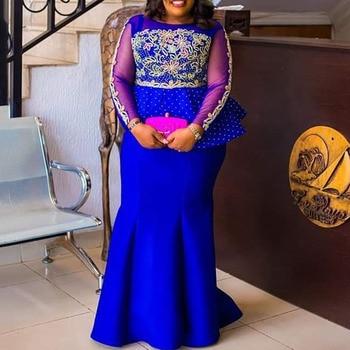Mermaid Evening Party Dress 2019 Long Plus Size XXL-5XL Mesh Long Sleeve Peplum Ruffles Vestidos Africa Women Maxi Dress Elegant