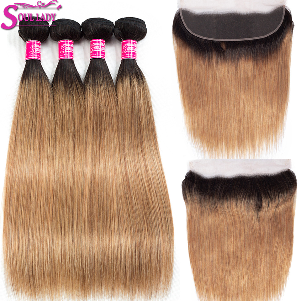 Ombre Human Hair 4 Bundles With Frontal 1B/27 Two Tone Non Remy Peruvian Hair Straight Ombre Blonde Bundles With Frontal Closure