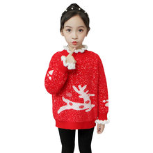 Kids Girl New Year Sweater Children with Deer Baby Christmas Clothes Fashion Flower Round Neck Knitwear For Teenage