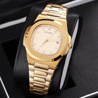 Yellow gold mens mechanical watches sapphire glass stainless steel bracelet sports watch Glide sooth second hand wristwatches