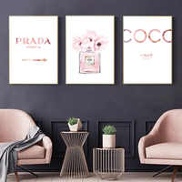 Abstract Canvas Painting Perfume Pink Peony Posters And Prints Quotes Perfume Bottle Painting Wall Pictures For Bedroom Decor