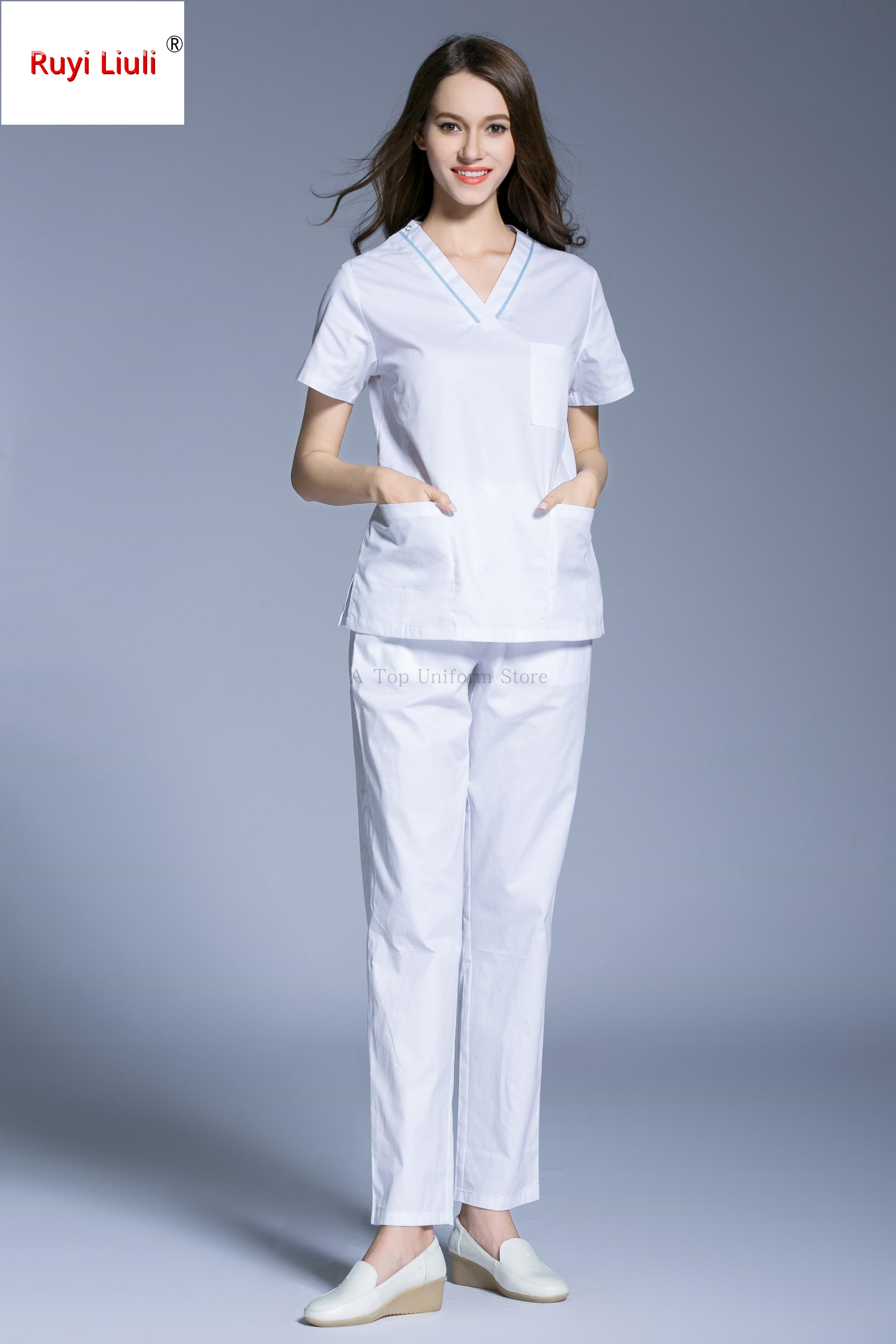 New Fashion Medical Uniforms Nursing Scrubs Clothes Short Sleeve Coat Summer Work Wear Uniform Women beauty