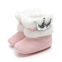 Newborn Infant Cute Crown Bling Plush Snow Boots Sequins Children Shoes Girls Boys Short Boot Baby Shoes Chaussure Enfant(China)
