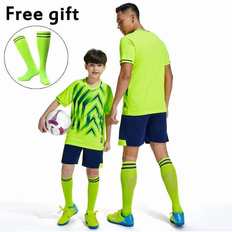 Personalize conjuntos de uniformes do clube da equipe de futebol masculino meninos camisa de futebol ternos camisas e shorts kits verde azul vermelho whi