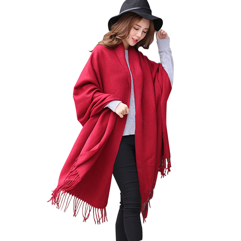 Burgundy Cashmere   Scarf   for Women 2020 New Women's Ponchos And Capes Red   Scarf   Shawls Winter Warm Stole   Wrap   Pashmina Cachecol