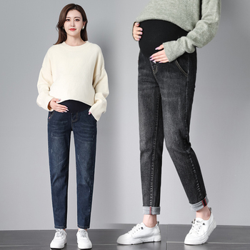 535 # spodnie ciążowe wiosna jesień dziewiąte spodnie cienkie jeansy ciążowe brzuch wsparcie spodnie w pasie spodnie ciążowe tanie i dobre opinie GOARYUNVE WOMEN Elastyczny pas Macierzyństwo Natural color Medium REGULAR COTTON